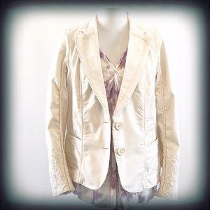 Lane Bryant Cream Cotton Embroidered Blazer